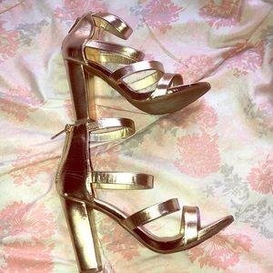 Bamboo gold sandal heels